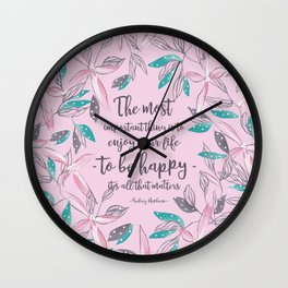 Flower of a brush touch design illustration / Pink Wall Clock