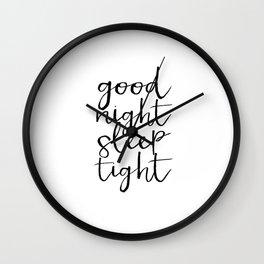 Bedroom Decor Good night Poster Handwriting Print Bedroom Art CHILDREN ROOM DECOR Good Night Wall Clock