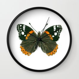 Admiral butterfly ink illustration Wall Clock