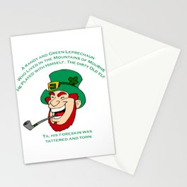 A Randy And Green Leprechaun St Patrick's Day Limerick Stationery Cards