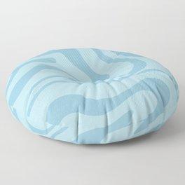 Light Aqua Blue Liquid Swirl Abstract Pattern Square Floor Pillow