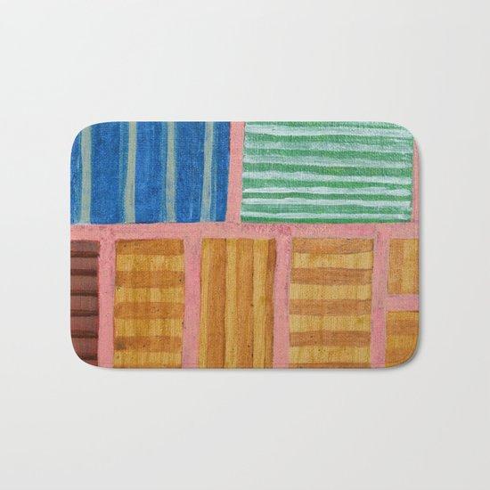 Beautiful Stripes Pattern within a Pink Grid Bath Mat
