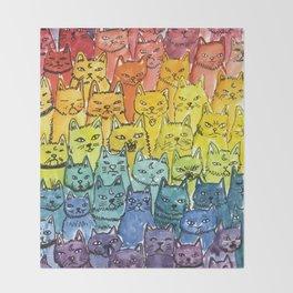 the pride cat rainbow  squad Throw Blanket