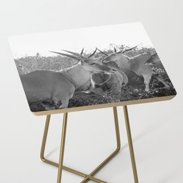 Herd of Eland stand in tall grass in African savanna Side Table