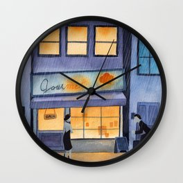 Meeting in the rain illustration Wall Clock