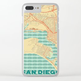 San Diego Map Retro Clear iPhone Case