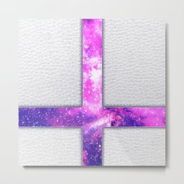 Hipster Purple Nebula Cross Modern Faux Leather Metal Print