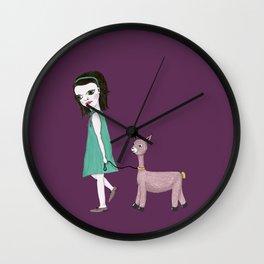 Llama Girl Wall Clock
