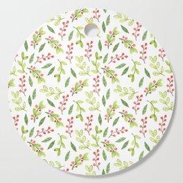 Bright Watercolor Christmas Mistletoe Pattern Cutting Board