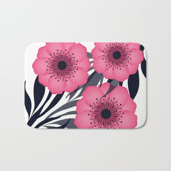 Pink flowers. Bath Mat