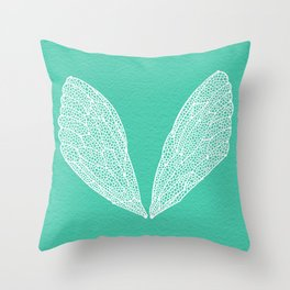 Cicada Wings – Turquoise Throw Pillow