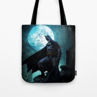 bat man Tote Bags featuring BAT man by Electra