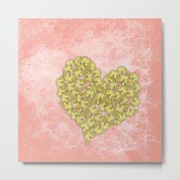 Gold butterflies heart and peach texture Metal Print
