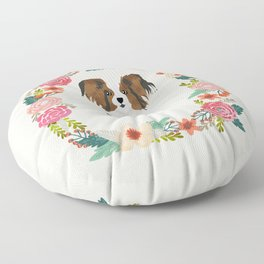 papillon floral wreath dog breed pet portrait pure breed dog lovers Floor Pillow