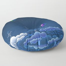 Fascinating Colorful Angel Pixies Creating Weather Fantasy UHD Floor Pillow