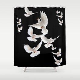 WHITE PEACE DOVES ON BLACK COLOR DESIGN ART Shower Curtain