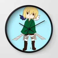 snk Wall Clocks featuring Armin by Sir-Snellby