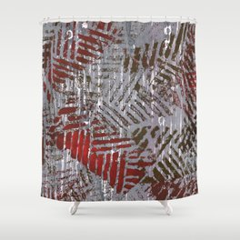 Abstract Red Gray Painting Shower Curtain