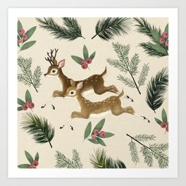 winter deer // repeat pattern Art Print