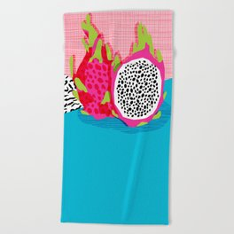 Hard Core - memphis throwback retro neon tropical fruit dragonfruit exotic 1980s 80s style pop art Beach Towel