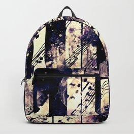 piano keys and music sheet pattern wsfn Backpack
