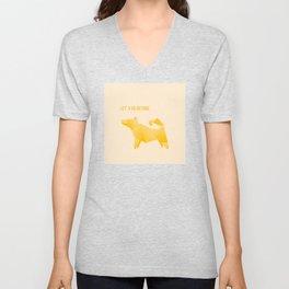 Let's Go Outside - Origami Yellow Dog Unisex V-Neck