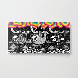 Sloths, Pyramids, Skulls, Rainbow Clouds Metal Print