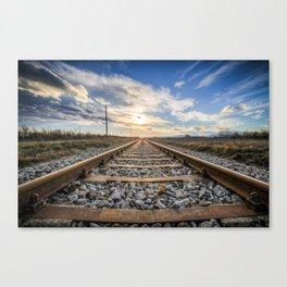 Railway Rocks Sunset Sun Sunlight Track Rail Canvas Print