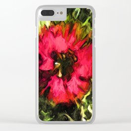 Flower of Red with Green Leaves 1 Clear iPhone Case