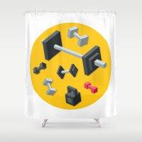 sport Shower Curtains featuring Sport equipment by Irmirx