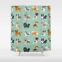 nordic Shower Curtains featuring NORDIC DOGS by Doggie Drawings