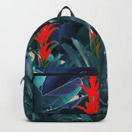 RED BROMELIAD FLOWERS & BLUE  JUNGLE LEAVES Backpack