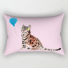 Cat and Balloon Rectangular Pillow