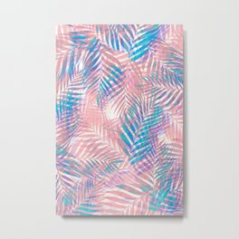 Palm Leaves - Iridescent Pastel Metal Print