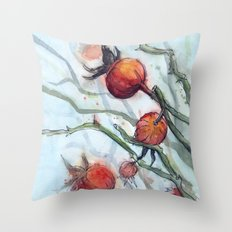 Rose Hips Abstract Watercolor Nature Throw Pillow