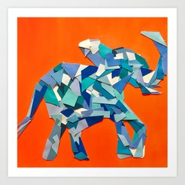 Elephant collage of paint samples Art Print