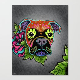 Boxer in Fawn - Day of the Dead Sugar Skull Dog Canvas Print