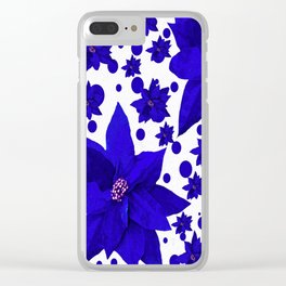 Poinsettia Holiday Pattern Clear iPhone Case
