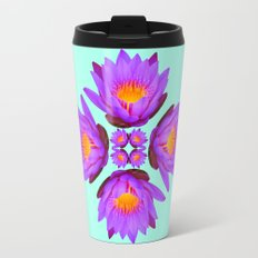 Purple Lily Flower - On Aqua Blue Travel Mug