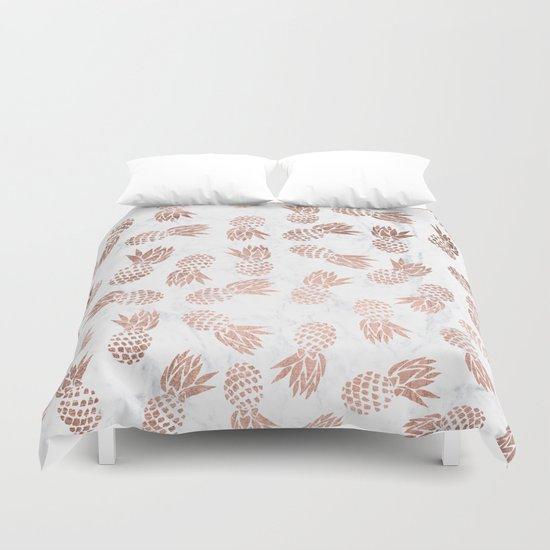 modern faux rose gold pineapples white marble pattern duvet cover - Modern Duvet Covers