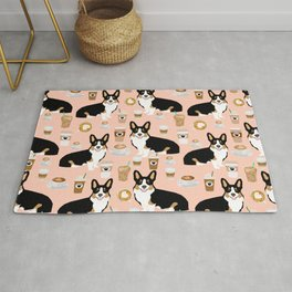 Welsh Corgi tri colored coffee lover dog gifts for corgis cafe latte pupuccino corgi crew Rug