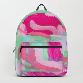 Kabuki Magic - mint green pink abstract modern Backpack