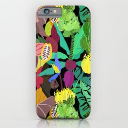 Tropical Fruit Bats in Night Black iPhone Case