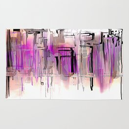 City in Purple and Blush Rug