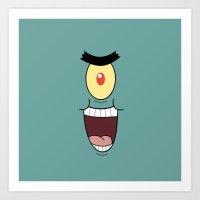 spongebob Art Prints featuring PLANKTON SPONGEBOB by September 9
