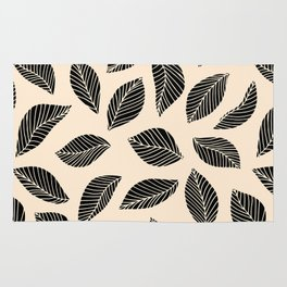 Falling Leaves in black and ivory Rug