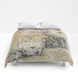 Vintage Map of Rhode Island (1823) Comforters