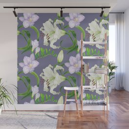 Lily and freesia flowers watercolor purple seamless pattern Wall Mural