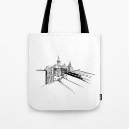 Vibrant City White Background Tote Bag