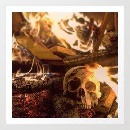 Catacomb Culture - Human Skull Fire Art Print